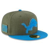New Era Detroit Lions Heather Army 59Fifty 2018 Salute to Service On-Field Fitted Cap
