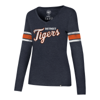 47 Brand Detroit Tigers Women's Fall Navy Club Stripe Long Sleeve Tee