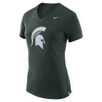 Nike Michigan State Spartans Women's Green Fan V-Neck Tee