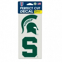 "Wincraft Michigan State Spartans Perfect Cut Decal Set of Two 4"" x 4"""