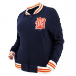5th & Ocean Women's Detroit Tigers Navy Mesh Varsity Jacket
