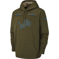 Nike Detroit Lions Olive Canvas 2018 Salute to Service Pullover Thermal Hoodie