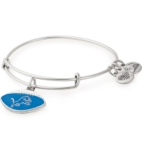 Alex and Ani Detroit Lions Rafaelian Silver Football Color Infusion Charm Bangle