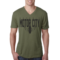 Motor City Bad Boys Military Green Tri-Blend V-Neck Tee