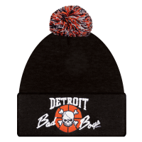Detroit Bad Boys Black Cuffed Beanie w/ Pom