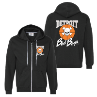 Detroit Bad Boys Black Full Zip Hoodie