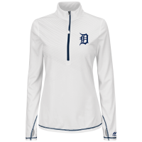 Majestic Detroit Tigers Women's White Athletic Concept 1/2 Zip Pullover