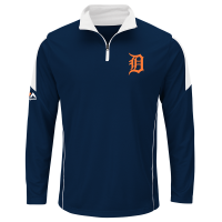 Majestic Detroit Tigers Athletic Navy Status Inquiry 1/4 Zip Pullover