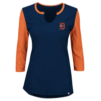 Majestic Detroit Tigers Women's Athletic Navy Above Average 3/4 Sleeve Tee