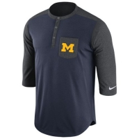 Nike Michigan Wolverines Navy Dri-FIT Touch Henley
