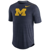 Nike Michigan Wolverines Navy Heather Short Sleeve Player Top