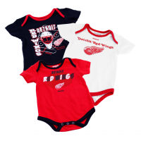 Reebok Detroit Red Wings Infant 3 Pack Bodysuits