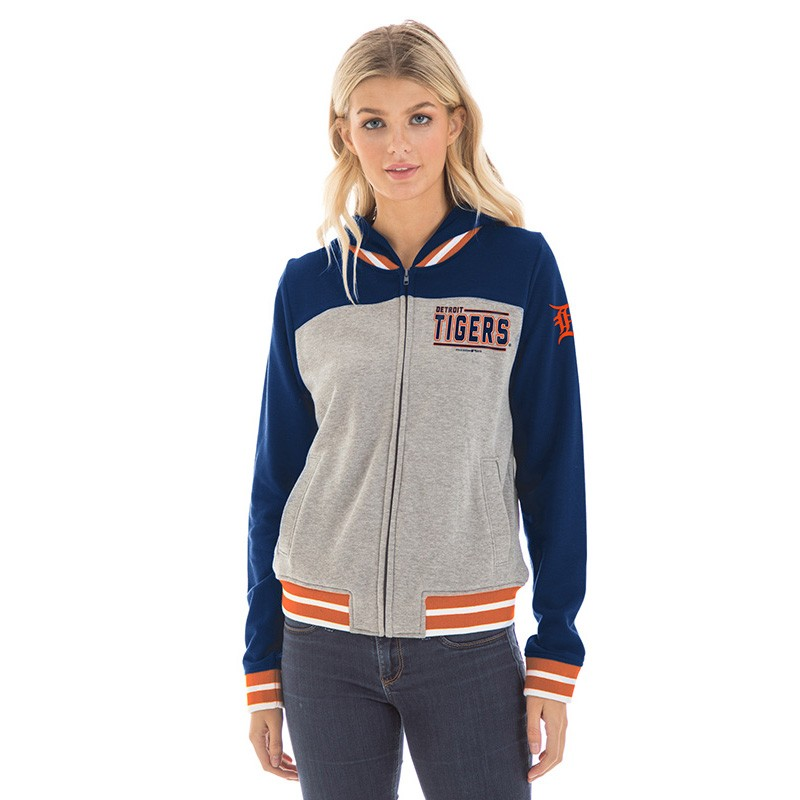 online retailer da686 9089b New Era Detroit Tigers Women's Heather Gray French Terry Zip ...