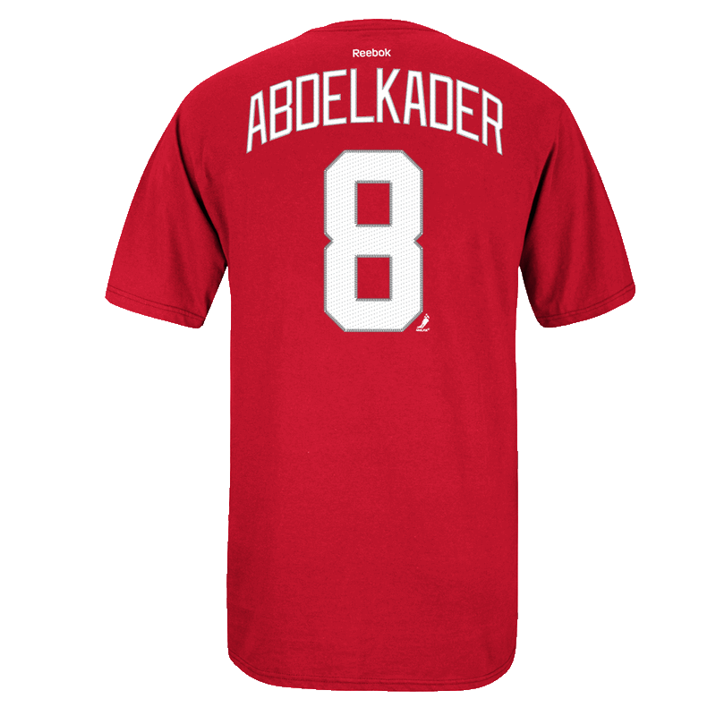 Reebok Detroit Red Wings Red Justin Abdelkader Player Name   Number Premier  Tee 47a7648d2