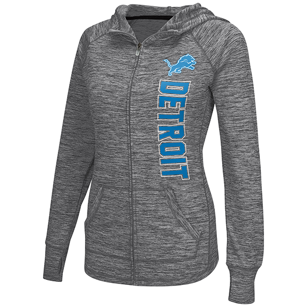 4Her Detroit Lions Women s Heather Gray Defender Hoodie 63518bb74
