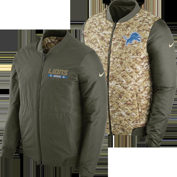 Nike Detroit Lions Cargo Khaki Salute to Service Reversible Bomber Jacket ba83e64b0