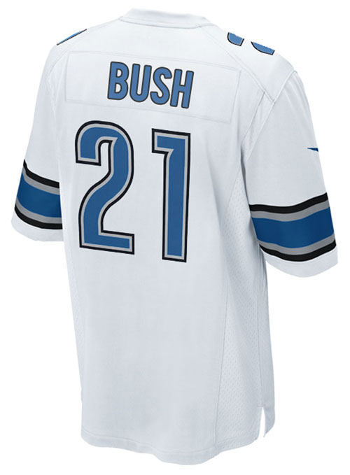 on sale 26955 e2124 Nike Men's Detroit Lions White Reggie Bush Game Jersey