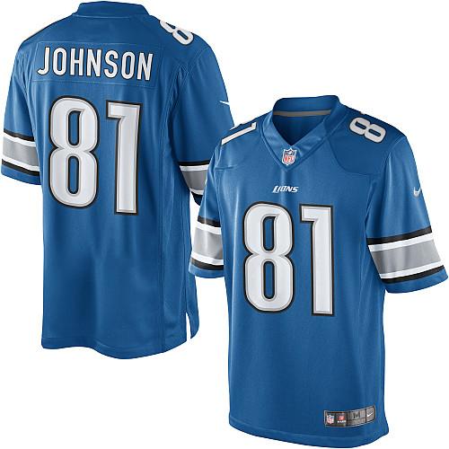 best website 60f7e ed8e8 Nike Youth Detroit Lions Blue Calvin Johnson Game Jersey