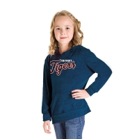 New Era Detroit Tigers Girls Navy Tri-Blend Pullover Hoodie