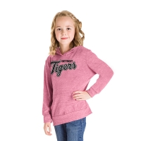 New Era Detroit Tigers Girls Pink Tri-Blend Pullover Hoodie