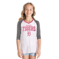 New Era Detroit Tigers Girls White 3/4 Sleeve Raglan Pinstripe Jersey Tee