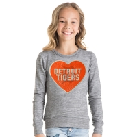 New Era Detroit Tigers Girls Heather Gray Sweater Pullover Top