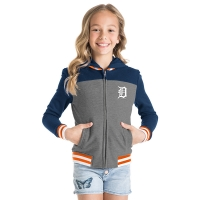 New Era Detroit Tigers Girls Heather Gray French Terry Zip-Up Hoodie