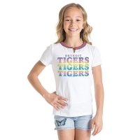 New Era Detroit Tigers Girls White Split Scoop Neck Tee