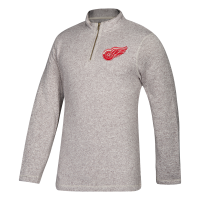 Adidas Detroit Red Wings Gray Heather 1/4 Zip Top