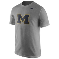 Nike Michigan Wolverines Dark Heather Gray Cotton Logo Tee