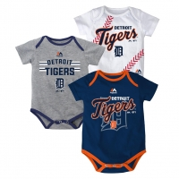 Majestic Detroit Tigers Newborn Team Color Triple Play 3-Piece Bodysuit Set