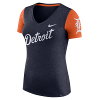 Nike Detroit Tigers Women's Navy Heather V-Neck Dri-FIT Top