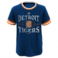 Majestic Detroit Tigers Youth Navy Round The Base Ringer Tee