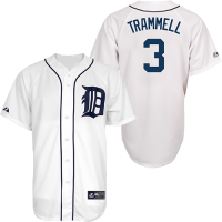 Majestic Detroit Tigers Home White Alan Trammell Replica Jersey
