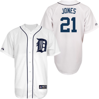 Majestic Detroit Tigers Youth Home White Jacoby Jones Replica Jersey