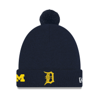 New Era Detroit Tigers Navy Michigan Wolverines Co-Branded Pom Cuff Knit Cap