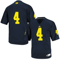 Adidas Michigan Wolverines Navy #4 Replica Football Jersey