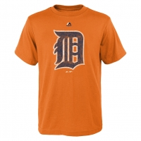 Majestic Detroit Tigers Youth Orange Distressed Team Logo Tee