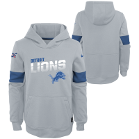 Nike Detroit Lions Youth Wolf Gray Therma-FIT Pullover Hoodie