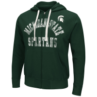 G-III Michigan State Spartans Green Varsity Full Zip Fleece Hood