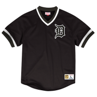 Mitchell & Ness Detroit Tigers Black Mesh V-Neck Top