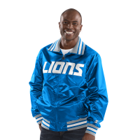 Starter Detroit Lions Blue The Captain Satin Jacket