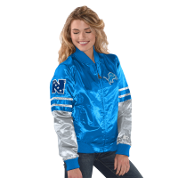 Starter Detroit Lions Women's Blue Tie Breaker Satin Jacket