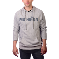 MI Culture Athletic Gray Painted Michigan French Terry Pullover Hoodie