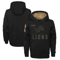 Nike Detroit Lions Youth Black 2020 Salute To Service Therma Pullover Hoodie
