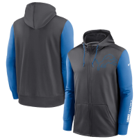 Nike Detroit Lions Gray Fan Gear Mascot Therma Full Zip Hoodie