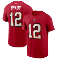 Nike Tampa Bay Buccaneers Red Tom Brady Player Name & Number T-Shirt