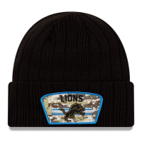 New Era Detroit Lions Black 2020 Salute To Service Cuffed Knit Hat