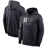 Nike Detroit Tigers Pitch Blue Authentic Collection Therma Logo Stack Performance Pullover Hoodie