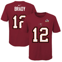 Nike Tampa Bay Buccaneers Youth Red Tom Brady Super Bowl LV Player Name & Number T-Shirt